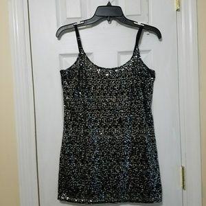 Black and Silver Sequin Chiffon Tank Tunic Shirt